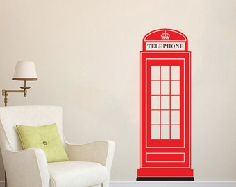 London Phone Booth British Phone Box UK Great Britain wall decal vinyl sticker wall art mural available in 3 different sizes and 30 colors