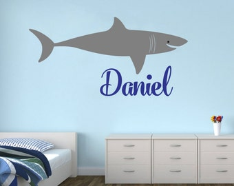 Personalized Name With Shark Nursery Baby room wall decal wall kids children available in 9 different sizes and 30 different colors 003