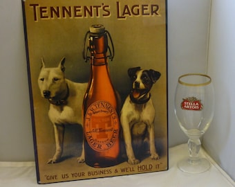 Large metal Advert Tennent's Lager give us your business & we'll hold it 40x30cm