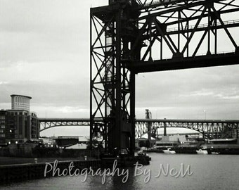 Bridges of Cleveland 8x10 Black and White Photograph Cityscape, Contemporary Photography Hometown Pride