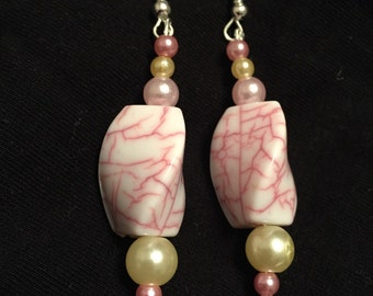 Summer time pink and cream earrings