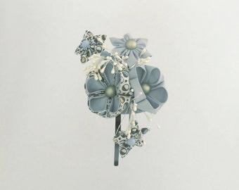 Kanzashi pale blue flower headband