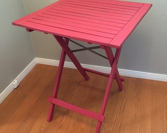 Red Painted Table, Collapsible Wood Tall Outdoor/Indoor Distressed Table,  Patio Table,