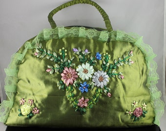 Handmade Handbag Ribbon Embroidery Flowers Totes Bag Green