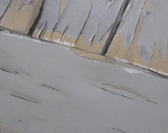 Chipped Porch, painterly oil painting on canvas, still life, small painting, thick paint, layers, nautical