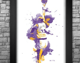 KAREEM ABDUL-JABBAR watercolor style limited edition art print. Choose from 3 sizes!