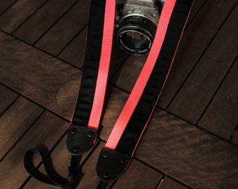 Cotton camera strap, extra long, neon dayglo coral, black, 1.5 inch (38mm), leather, DSLR, SLR, God Wants Us to Wait