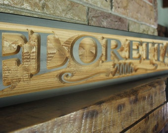 custom last name sign, rustic kitchen decor, last name established sign, hand carved wood wall art, family name sign, custom wood sign