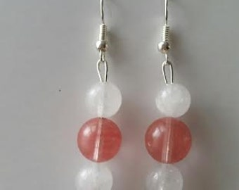 "PInk and white ""pearl"" earrings"