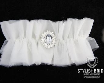 Wedding garter tulle brooch, tulle Wedding garter, bridal garter, tulle garter, bridal garters, Tulle Bridal Garter, Tulle Bridal Garter