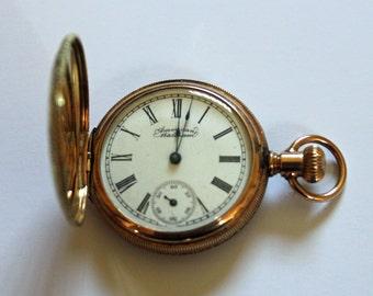 14ct Gold Jewel American Waltham Full Hunter Pocket Watch 1897