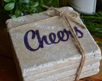 Cheers Hand Made Travertine Tile Coaster