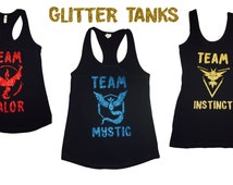 GLITTER Pokemon Go Team Valor Team Mystic Team Instinct Red Blue Yellow Team Womens Juniors GLITTER Tank Top Tshirt Shirt FREE Shipping