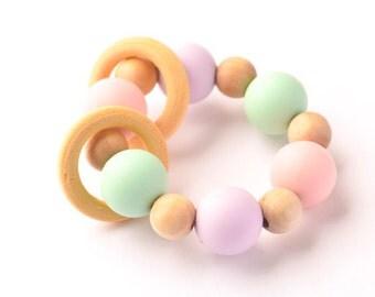 Teething ring Baby Teether Baby Teething Ring Maple Wood Rings Teething Toy Soothing Ring Baby Gift Baby Toys