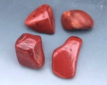FOUR (4) Medium Tumbled Red Jasper Stones Lot #2 Crystal Healing Specimen Mineral Craft Supply