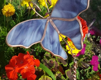 Butterfly garden stake stained glass yard art lavender glass handmade