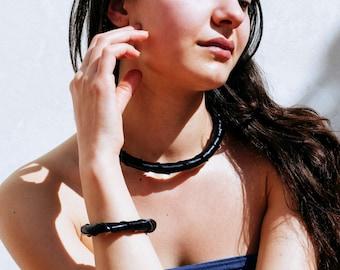 Tubular vinyl necklace. tubular black necklace. Spiral ring