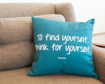Teal Quote Throw Pillow, Socrates