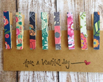 Vintage Wallpaper Inspired Mini Decorative Clothespins/Petite Clothespins, Small Decorative Clips, Favor and Treat Bag Clips, Set of 8