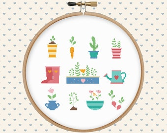 Garden cross stitch pattern pdf - pillow embroidered - instant download - modern cross stitch - floral cross stitch