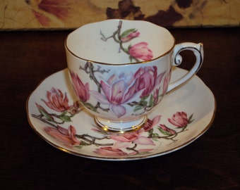 "Vintage Floral Roslyn Tea Cup and Saucer ""Magnolia"""
