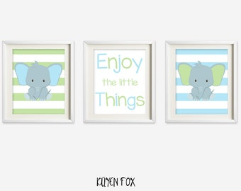 Elephant wall art - elephant nursery art - kids wall art - Nursery Decor - phrase wall decor - baby elephant wall print - elephant decor