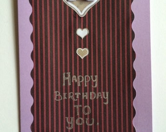 Heart and bow birthday card