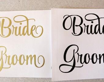 Bride and Groom vinyl decal.Wedding decal.