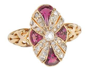 Garnet & Diamond Ring Yellow Gold - Vintage 1890's