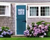 Beach Cottage, New England Coast Photo, Nantucket Island, Sconset Town,  Hydrangeas, Turquoise Door, Lace Curtain, Wall Decor
