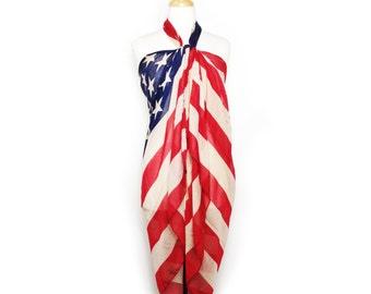 American Flag Beach wrap Scarf, Light-Weight fashion scarf.