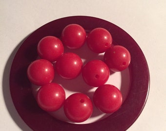 10  9mm Flat Red Vintage Bakelite Bead