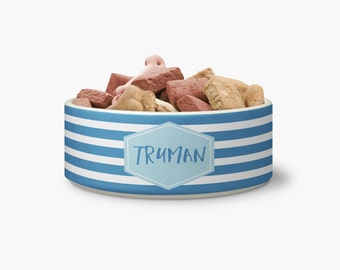 Personalized Striped Ceramic Pet Bowl - Personalized Dog Bowl - Ceramic Bowl - Personalized Bowl - Monogrammed Bowl - Monogrammed Dog Bowl