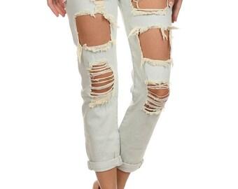 Distressed Jeans   Lapis & Lace