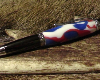 Handmade Ballpoint pen with Red, White and Blue Acrylic. Patriotic