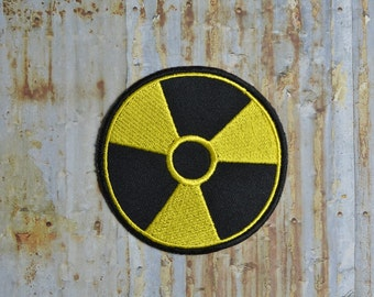Warning Yellow Black Radiation Danger Embroidered Iron On Or Sew On Patch
