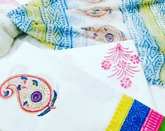 Beautiful unstitched cotton voil fabric with a combination of top/bottom and stole