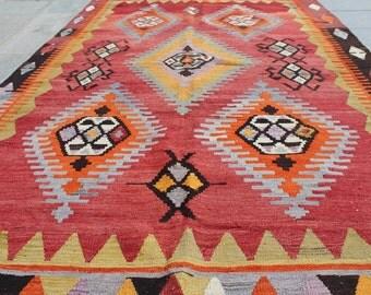 Red vintage turkish kilim rug 10x6 ft