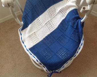 Baptize Blue Knitted Baby Blanket, Blue Knitted Baby Hat, Knitted Cotton blankets