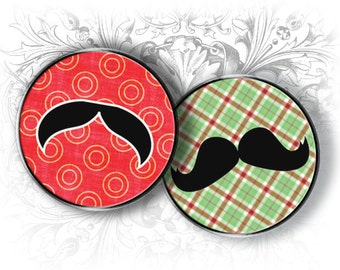 Mustaches 1 Inch Round Images Digital Collage Sheet Ready to Print