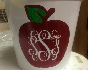Teacher Bucket with Apple and Monogram