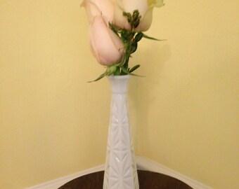 Vintage Hobnail-milk glass bud vase slender