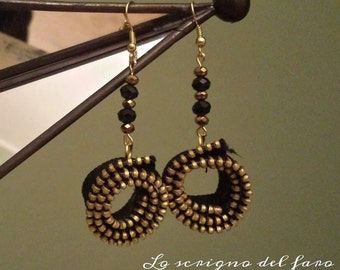 Zip and Golden crystals earrings