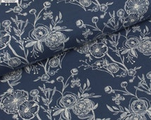 Cotton KNIT Fabric - Millie Fleur Line Drawings Bluing by Art Gallery Fabrics - Sold by the Half Metre - UK Seller
