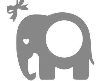 Elephant circle monogram frame with bow