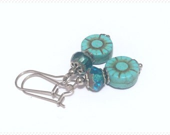 Stainless surgical earrings, surgical steel earrings, turquoise earrings, dangle earrings, Victorian earrings, flower earrings, gift jewelry