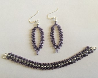 Purple St. Petersburg Chain Bracelet and Earring Set