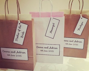 Personalised Wedding Gift Bags - Party Favours -With Tissue Paper and Label
