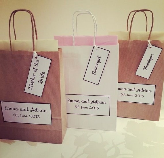 Personalised Wedding Gift Bags - Party Favours -With Tissue Paper and ...