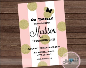 Minnie Mouse Party Invitation, Minnie Mouse Pink and Gold Invitation, Minnie Mouse Invitation, Minnie Mouse Birthday Pink, Digital File.